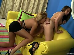 Sultry bitches Charlie Laine and Clara G strip and finger each other