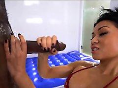Sexy asian worships Black guy