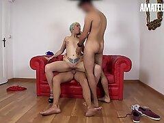 AMATEUR EURO -Spanish Pornstar Seduce And Enjoy MMF Sex